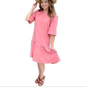 EMMA KNUDSEN Lauren Drop Waist Ruffle Hem Dress XL
